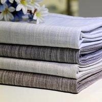 manteles de boda amarillo al por mayor-Senisaihon Mantel de lino de algodón coreano Color sólido Azul claro A prueba de polvo Mantel de boda Banquete rectangular Cubierta de tela
