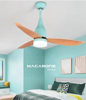 led hayranları toptan satış-Sıcak Satış Basit Kapalı tavan fanı ışık Macarons ahşap Yaprak 44 inç LED lamba diningroom tuvalet yatak odası uzaktan kumanda ile sessiz fan ışık
