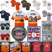 Wholesale cool pullovers for sale - Group buy Nolan Ryan Jersey Houston Cooperstown Astros Baseball Hall Of Fame HOF Rainbow Pullover Button Flexbase Cool Base Women Youth Kid