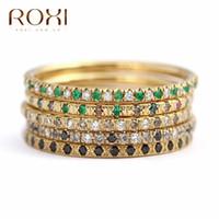 ingrosso donne anello roxi-ROXI fedi nuziali vintage per donna micro pavè di strass anelli di cristallo cz delicati gioielli da sposa delicato anello di barretta anelli