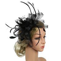 örtü klipsleri toptan satış-Zarif Lady Tüy Fascinator Kokteyl Şapka Tokalar Düğün Parti Saç Klip için Fransız Örgü Peçe Saç Bandı Şapkalar