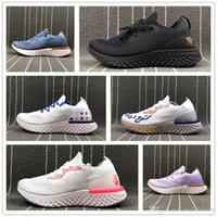 id spor ayakkabıları toptan satış-Kimlik Özelleştirilmiş Fly Örme Spor Sneaker Siyah Beyaz Pembe Mor Tasarımcı Nefes Kutusu Yok Koşu Ayakkabısı Tepki Epik Ucuz
