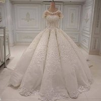 Wholesale ball gown wedding dresses for sale - Fantastic White Ivory Ball Gowns Lace Wedding Dresses Cap Sleeves Jewel Neck Formal Bridal Gowns Appliques Sequins Arabic Robe de marrie