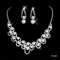 joya joyeria al por mayor-2019 Vista de Moda Novia Conjuntos de Joyas 036 Cristal de La Boda Nupcial Collar Redondo Pendiente Joyería del Partido de Noche