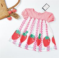 rosa polka dot kleid kinder großhandel-Kinder Mädchen Designer Kleidung Kleid Sommer Kurzarm Strawberry Pink Polka Dots Design Lolita Kleid Princess Girl Clothing Dress