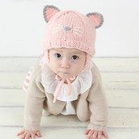 kız başlıklar fotoğrafları toptan satış-Moda Bebek Bebek Kız Şapka Caps Çocuklar Sonbahar Kış Yumuşak Sıcak Şapka Güzel Kedi Örme Bere Cap Yenidoğan Erkek Kız Fotoğraf Sahne