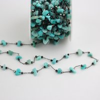 Wholesale amazon jewelry resale online - 5Meters Natural Blue Amazon Stones Chips Beads Chains Golden Black Plated Copper Links Jewelry Crafts mm