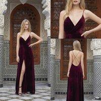robe longue et étroite achat en gros de-Mode Bourgogne Longues Robes De Soirée 2019 Nouveau Mince Bandoulière Sexy Cou V Cou Robes De Soirée De Soirée Robes De Soirée 2018