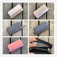 Wholesale leather handbags brands china resale online - Brand KS Color Patchwor Wallet Handbags Coin Purses Zipper Totes PU Leather Glitter Bags Men Women Credit Card Slot Mother Day Gifts C42201