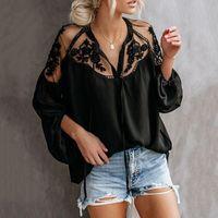 roupa preta china venda por atacado-Senhoras verão Tops Pretos Chiffon Camisas Blusas Mulheres Sheer Roupas Baratas China Femininas Camisas Vestuário Feminino