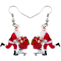 Wholesale white girls shopping resale online - Acrylic Merry Christmas Shopping Santa Claus Gift Earrings Drop Dangle Decoration Ornaments Jewelry For Women Girl Bijoux
