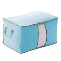 quilt caixas de armazenamento venda por atacado-Tampa Azul Do Saco De Armazenamento Saco de Armazenamento De saco Caixa Dobrável Para Colcha Roupas 60X42X36 cm 8 pçs / lote