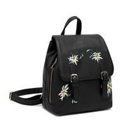 94ce3fc8a9c2f sırt çantası kadın çiçeği toptan satış-Kadın Sırt Çantaları Çanta Çanta PU  Deri Kızlar Çiçekler