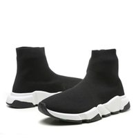 Wholesale breathable slip shoes for sale - 2019 Speed Trainer Black Knit High Socks Sports Shoes Triple Black Flat Fashion Socks Boots With Box Size36