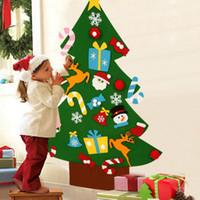 quarto de parede para crianças venda por atacado-Diy sentiu enfeites de árvore de natal xmas diy wall decor para crianças quarto auto vara sentiu árvores de natal crianças presentes
