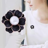 aa2a3902507 Women Pearl Camellia Luxury Brooch Flower Brooch Suit Lapel Pin Gift for  Love Girlfriend Fashion Modern Design Brooch Jewelry Accessories