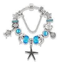bracelets en diamant bleu achat en gros de-Pandora Design Charm Bracelets Bijoux Vintage En Argent pour Femmes Rose Bleu Série Océan Starfish Tortue Animal Diamant Perles De Cristal Bracelets