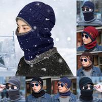 proteção de pescoço chapéu de inverno venda por atacado-Além disso chapéu bib quente frio do inverno macho máscara ao ar livre equitação à prova de vento chapéu manga de protecção rosto pescoço integrado