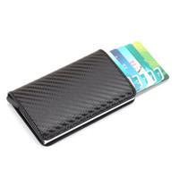 neue aluminium-kreditkarten-brieftasche großhandel-Neue Diebstahlschutz Männer Vintage Kreditkarteninhaber Blockieren Rfid Wallet Leder Unisex Sicherheitsinformationen Aluminium Metall Geldbörse