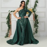 payet saten kayışlar toptan satış-Lüks Çıkarılabilir Etek Koyu Yeşil Bir Omuz Uzun Kollu Pullu Balo Abiye Belt ile Saten Mermaid Abiye