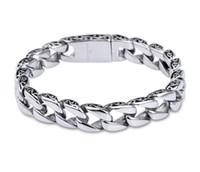 mens jóias de prata pesada venda por atacado-De alta qualidade pesado mens mulheres pulseira pulseira de prata de aço inoxidável 316l metal cubano elo da cadeia de jóias pulseiras de hip hop g823r f
