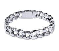 herren schwere silberschmuck groihandel-Hohe Qualität Schwere Herren Frauen Armband 316L Edelstahl Silber Armband Metall Kubanische Gliederkette Hip Hop Armbänder Schmuck G823R F