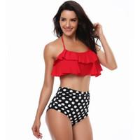12 set sütyen toptan satış-Kadın Bel Polka Dot Bikini 12 stilleri Seksi Baskı Mayo Yaz Beachwear Lotus Yaprağı Çiçek Bikini Set Sutyen Mayo banyo Sıcak