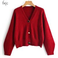 ingrosso vestiti di maglione nero-Inverno donne caldi manica lunga con scollo a V maglione cardigan Joker allentati casuali abito corto lavorato a maglia 2019 del rivestimento nero Femmina Red