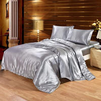 Wholesale satin quilt queen resale online - 100 Satin Silk Bedding Set Luxury Queen King Size Bed Set Quilt Duvet Cover Linens and Pillowcase for Single Double Bedclothes