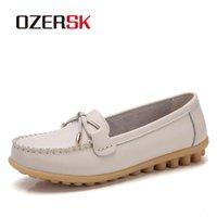 mulheres confortáveis sapatos plana venda por atacado-Ozersk couro genuíno apartamentos deslizamento Casual Em Loafers Mulher sapatos confortáveis suave inferior Flat Shoes Mulher Estilo Vintage