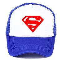 gorra de sol de superman al por mayor-Nuevo sombrero Snapback Superman masculino Gorra de béisbol para hombre Moda de verano Gorro de malla Sombrero para el sol Pareja Hip Hop exterior Sombrero de papá