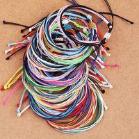 freundschaftsarmbänder wachsen großhandel-Wachsfaden Woven Bracelets Handmade Multilayer Woven Freundschaftsarmband Wachsschnur Armbänder Multicolor verstellbare geflochtenes Armband Frauen