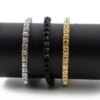 bracelet hip hop achat en gros de-Hommes Hip Hop Iced Out Bracelet Brillant 1 Rangée 5MM / 8MM Ronde Couper A + Strass Tennis Bracelets Bracelet Bling Bling Homme