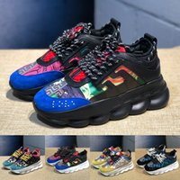 Wholesale mens flat chains resale online - Luxury Chain Reaction Casual Shoes White Multi Color Rubber Suede Flat designer sneakers Mens womens Fashion Leather shoes Trainers