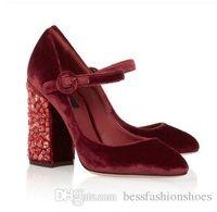 женская короткая обувь для пятки оптовых-Горный хрусталь ювелирные изделия вино красный BlackDG бархат насосы 2018 Весна платье обувь коренастый каблуки пряжки женщин Мэри Джейн свадьба обувь