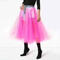 mulheres coreanas vestidos venda por atacado-Saias de Denim Para As Mulheres de Cintura Alta Patchwork Malha Midi vestido de Baile Saia Feminina Casual Moda Coreano 2019 Maré Primavera