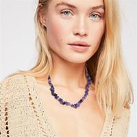 moda dize boncuk kolye toptan satış-Kişilik Doğal Kristal Taşlar Boncuk Moda Kadınlar El Yapımı Bildirimi Gerdanlık Kolye Renkli Küçük Boncuk Dize Kolye