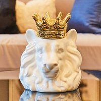 ingrosso volpe ceramica-Ceramica Home Decoration Accessori Gold Crown Lion per Living Room Party Bar Casa Ufficio Fox decorativo Orso dell'organizzatore di immagazzinaggio