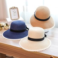 bc37af37540549 Korean version of the split straw hat summer seaside holiday fashion wild  bow basin cap folding sunshade sun hat women hat cap