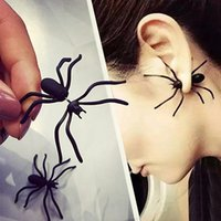 Wholesale black punk ear studs resale online - Punk Earring Black Spider Ear Stud Funny Style Weird Design Earring Decoration Jewelry Accessories for Party RRA1979