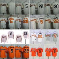 leere orange baseball jerseys großhandel-Günstige Orioles Blank / 5 # ROBINSON / 16 # CHEN / 20 # F.ROBINSON / 22 # PALMER / 23 # / 30 # TILLMAN Weiß Orange Baseball-Hemd Genähtes Top-Qualität