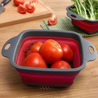 cestas de vegetais venda por atacado-Cozinha do silicone da fruta dobrável sobre a cesta vegetal do filtro do coador do dissipador