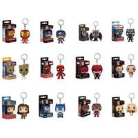figuras de hombre de hierro juguetes al por mayor-Funko pop Avengers Figuras de acción Juguetes Superhéroe iron Man Llavero niños Modelo de juguete llavero 13 estilos C6588