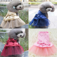 Wholesale dogs tutu resale online - Pets Clothes Bowknot Dress Lace Sequin Tutu Skirts Cat Multi Color Clothes Apparel Fashion Popular ml UU