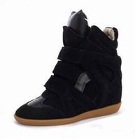 zapatos de tacones ocultos al por mayor-Para mujer tacones ocultos zapatillas de cuña zapatos de tacones altos extremos color mezclado diseñadores de lujo plataforma zapatos mujeres de cuero genuino
