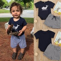 Wholesale black striped kids clothes set for sale - Group buy Baby Casual Outfits Children Black Short Sleeve Embroidery Whale Tops Striped Short set Summer Kids Stripe Clothing Sets M2127