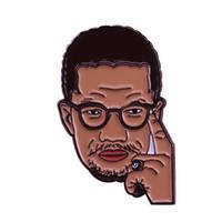 ingrosso piedini neri del risvolto-Spilletta Malcolm X Spilla per i diritti civili americana distintivo spilla storico eroe nero grande accessorio liberty