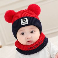 Wholesale boy scarfs beanies for sale - Group buy baby hats scarf set newborn hats autumn winter boys hats girls caps Baby Crochet Hats Hand Knitted Caps Beanies A8215