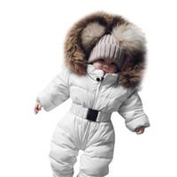 mameluco grueso del bebé del invierno al por mayor-Infantil de invierno del bebé del mameluco del mono chaqueta con capucha caliente gruesa capa del equipo MX191030