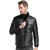 Wholesale sheeps skin jackets coats for sale - mens down jacket short outerwear coats stand neckline genuine leather sheep skin custom made black leather coats
